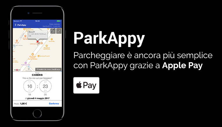 ParkAppy Integra Apple Pay, comunicato stampa